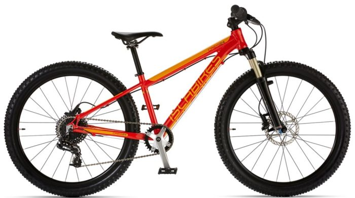 "The best kids mountain bikes with 24"" wheels - Islabikes Craig 24 in red and yellow"