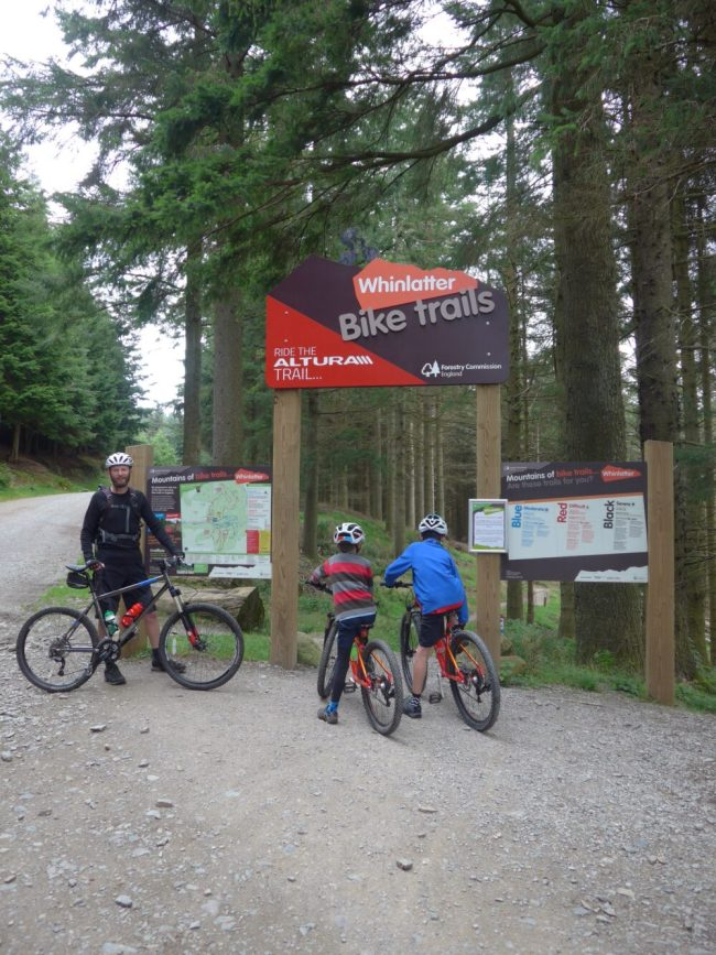 At the start of the blue MTB loop at Whinlatter Forest with our boys