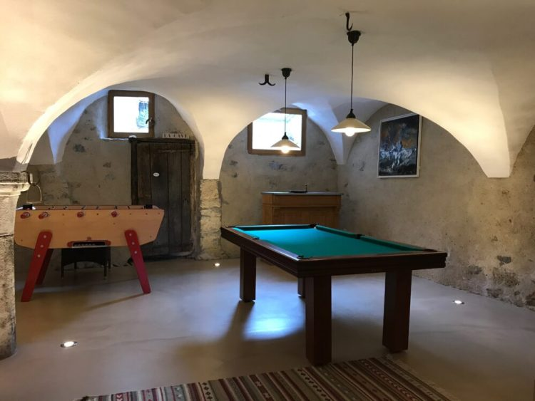 Family friendly accommodation in the French alps suitable for older kids and teenagers - pool table and table football will keep them entertained after a day of skiing or cycling