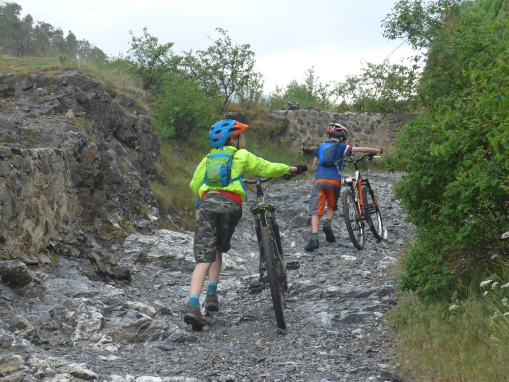 Pushing the mtb's up into Briançon
