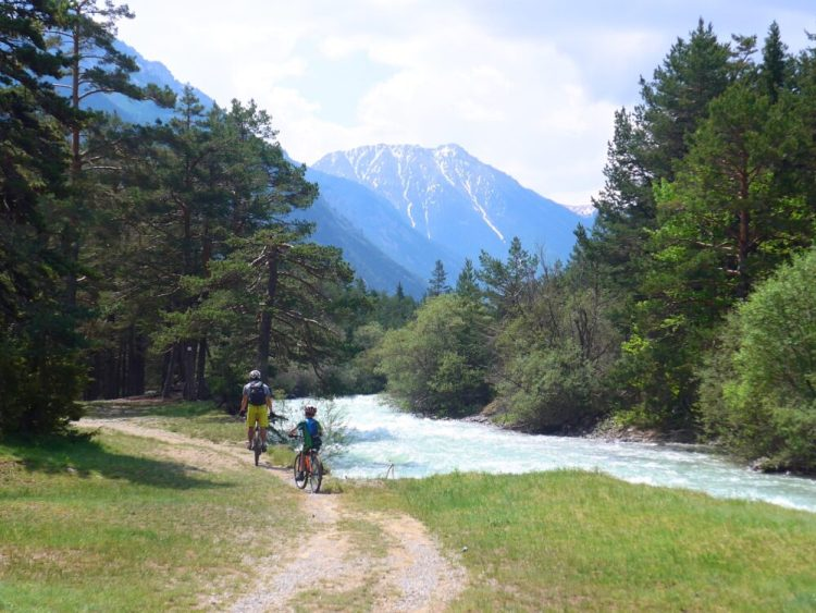 Family cycling along the Vallée de la Clarée in the Southern French Alps - the kids rode their bikes brilliantly along the course of the Clarée river