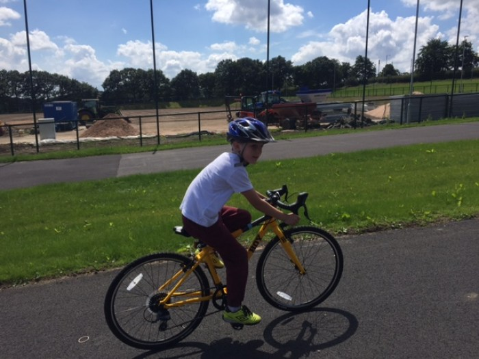 Riding the cycle track at the Brownlee Centre Leeds