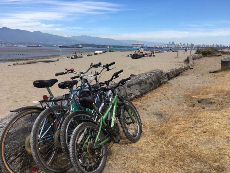 Bikes at Spanish Banks Beach Park Vancouver