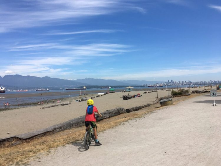 Family bike ride to the beach Vancouver