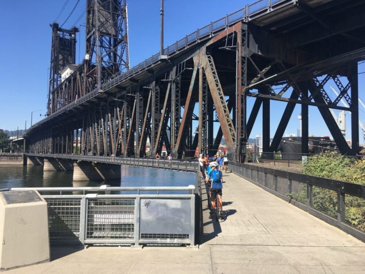 River crossing for cyclists in Portland, Oregon
