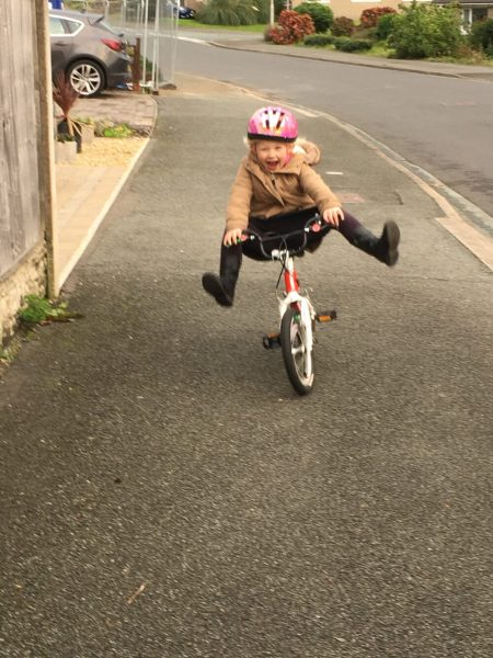 Having fun on the Woom2 kids bike!