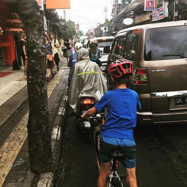 Cycling with kids in Bali - capital city Denpasar