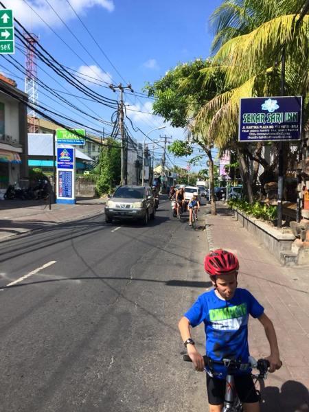 Cycling on the side roads in Legian Denpasar Bali