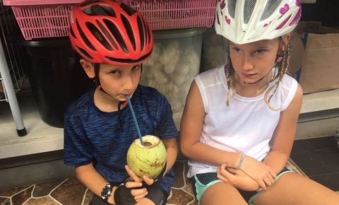 Alice and Tom family cycling in Indonesia, Bali and Lombok
