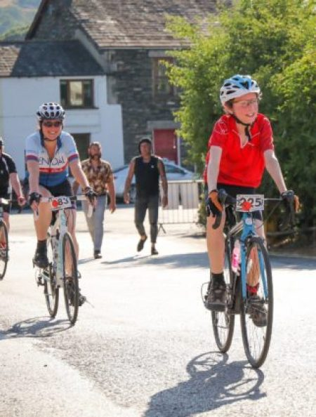 Crossing the finish line on the Tour de Staveley