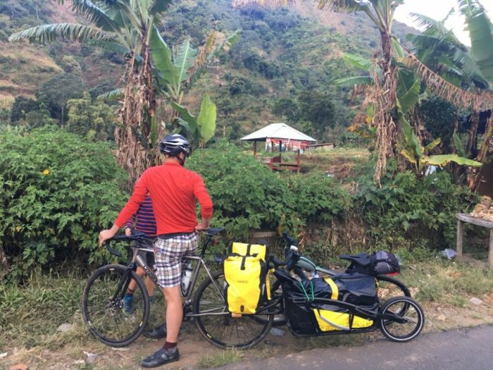 Richard and trailer on family bikepacking holiday Lombok