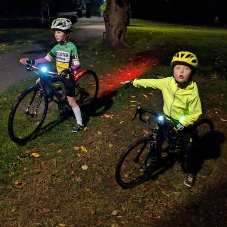 Eva and the bike lights -the best bike lights for taking kids on an offroad adventure