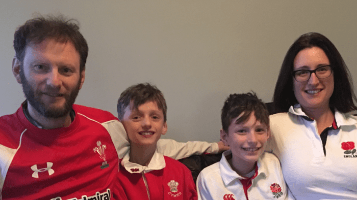 Jones family in rugby shirts