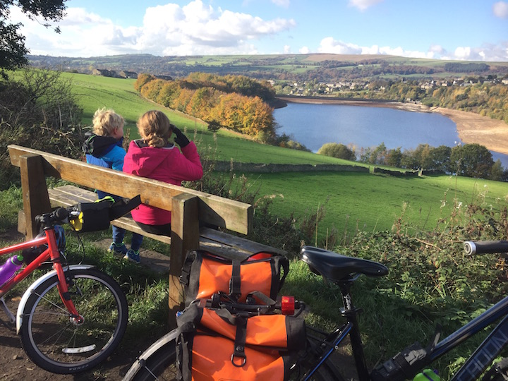 Rest stop to admire the reservoir on the Longdendale Trail - part of the Trans Pennine Trail