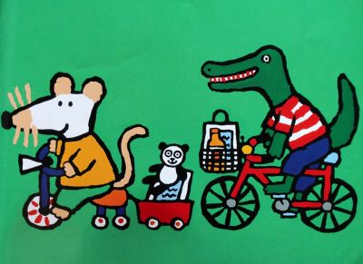 Maisy goes shopping - a children's book showing transporting children by bike