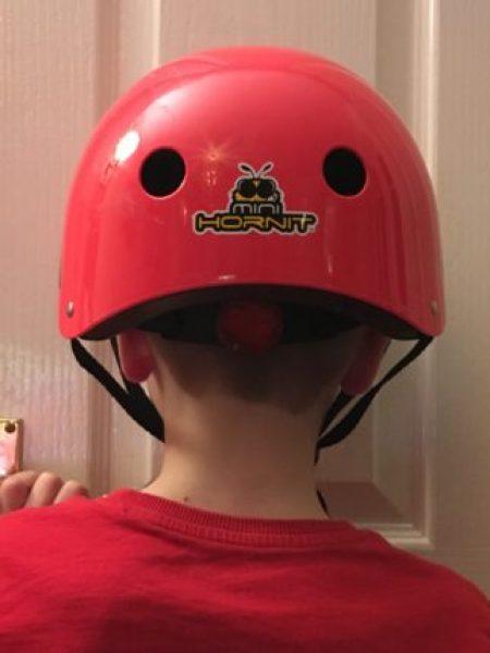 Rear view of the Mini Hornit kids cycle helmet Wayfarer design