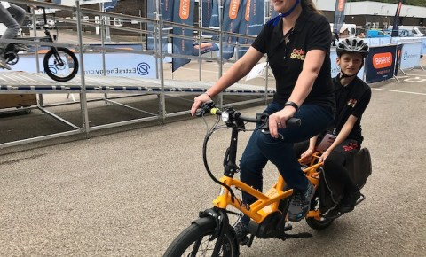 family cargo bikes at the 2019 Cycle Show - Tern GSD in action