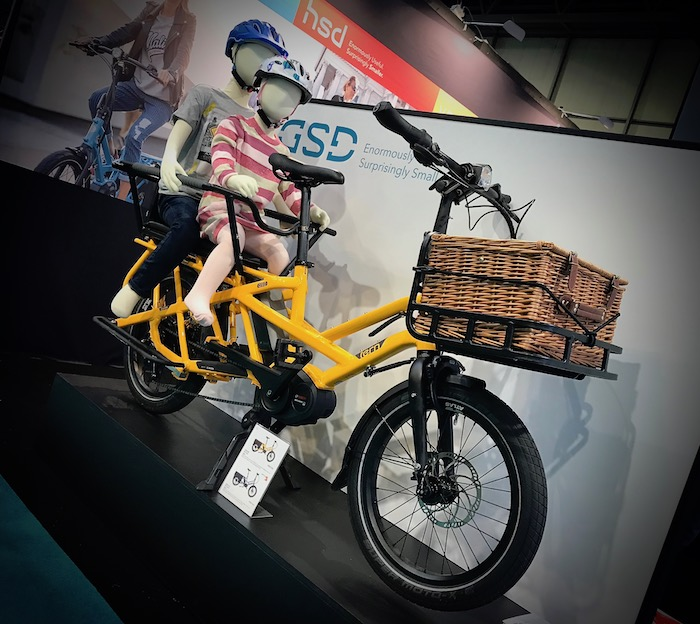 family cargo bikes at the 2019 Cycle Show - Tern GSD with two rear child seats fitted and front basket