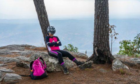 Female cyclist sleeping
