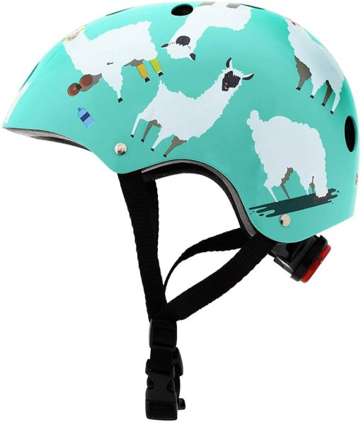 Kids Cycling Helmet with Llamas on it from Mini Hornit - we review this fun cycling safety accessory