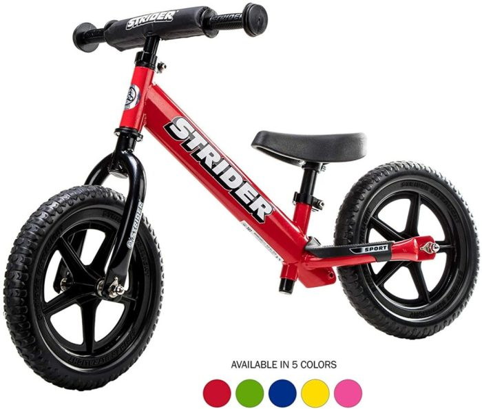Red balance bike like Prince Louis rode to nursery school - the Strider Sport