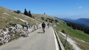 Lots of cyclists. Summit tower in distance
