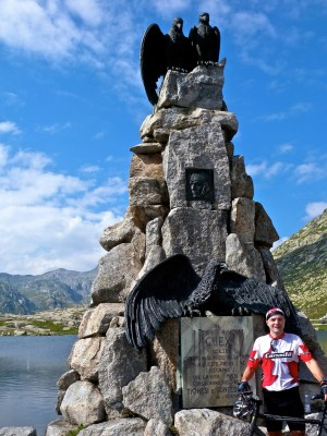 Statue to Adrien Guex. Swiss airman that crashed his plane here in 1928.