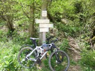 locked bikes at Col, hiked higher