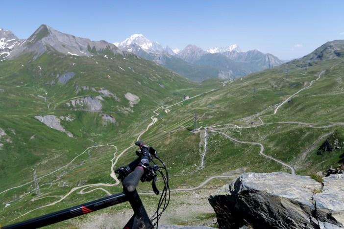 Road to Petit St Bernard far below