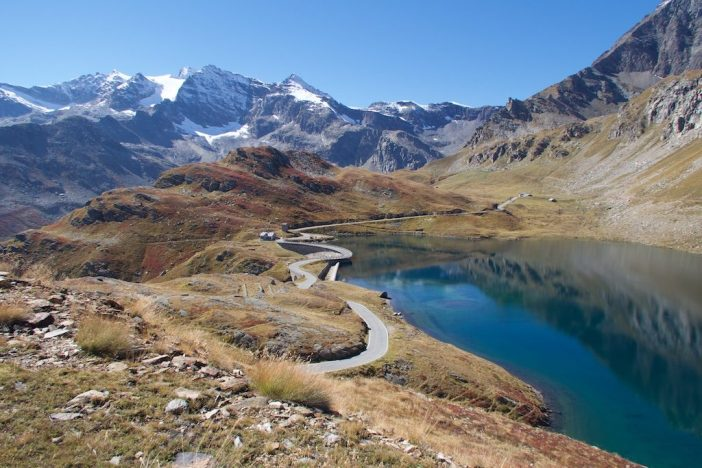 Lago Agnel, looking back.  Road rides across the dam
