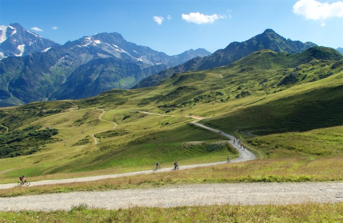 Mountain bikers enjoying descent of Col du Joly