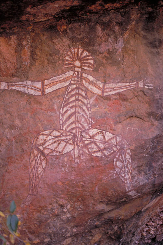 Kakadu NP: rock art (Namarrgon, the lighting man)at Yourlangie Rock