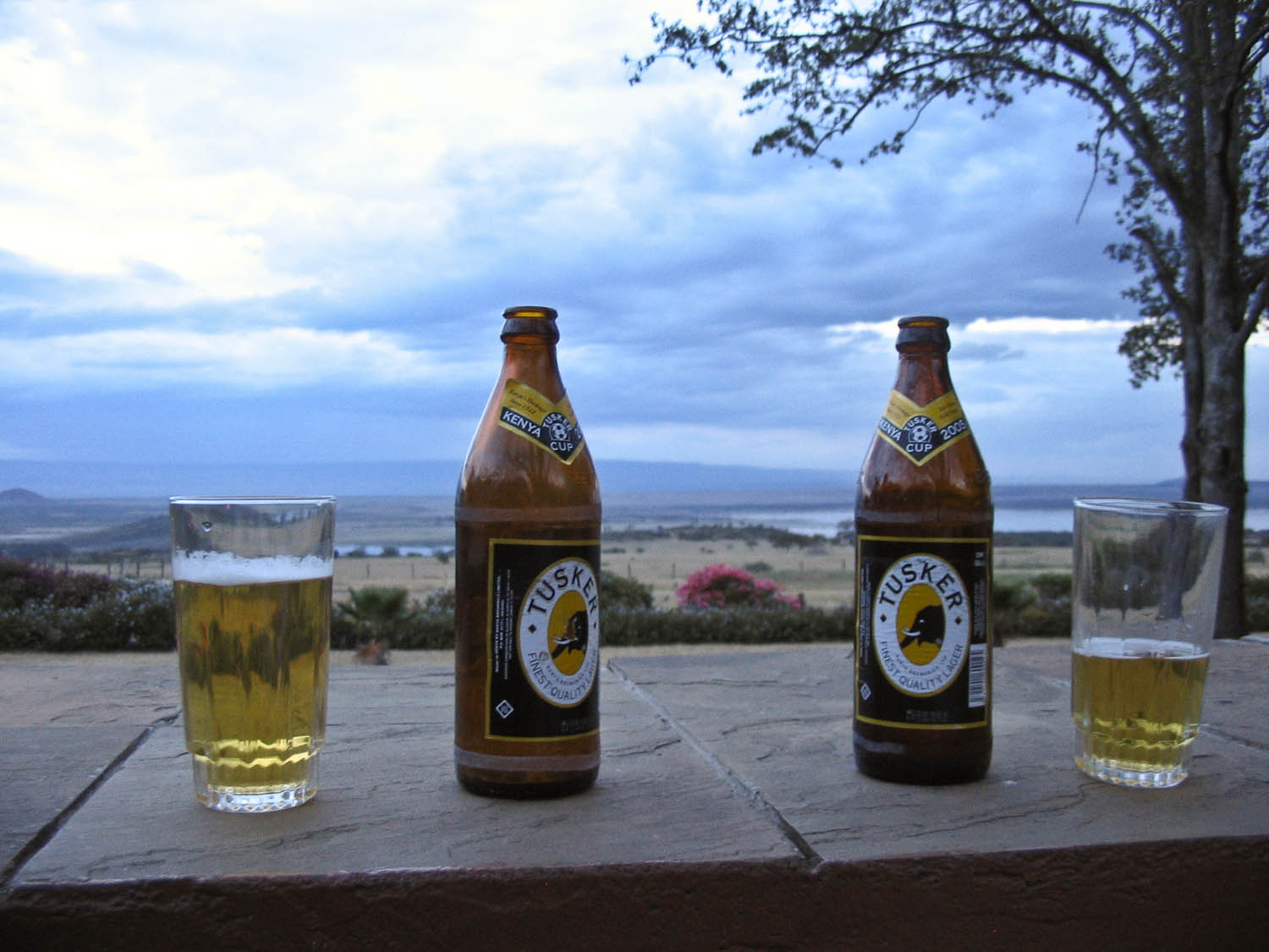 well deserved beers at a lodge near lake elementeita