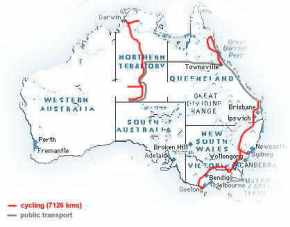 our route in Australia