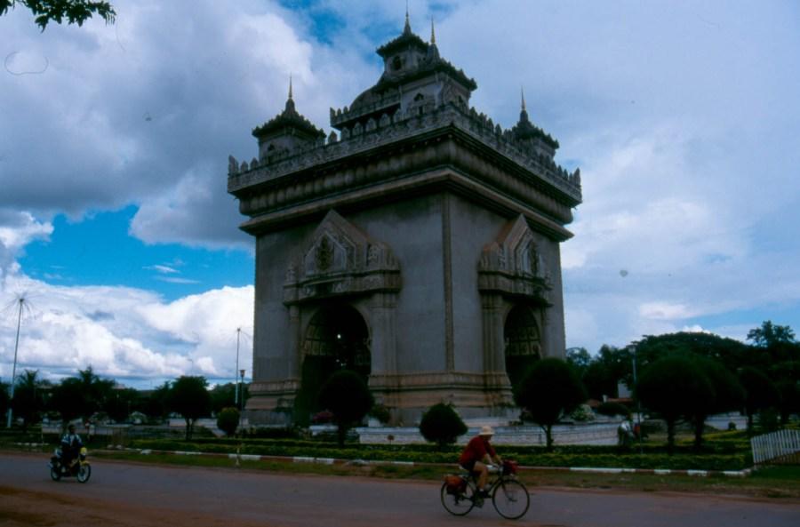 cycling around Vientiane's Arc de Triomphe