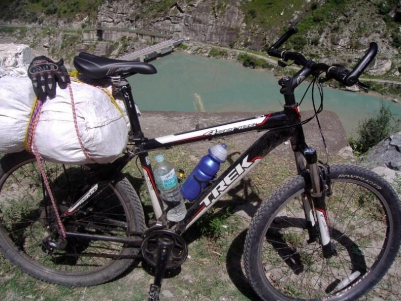 Cycling near Karcham Dam