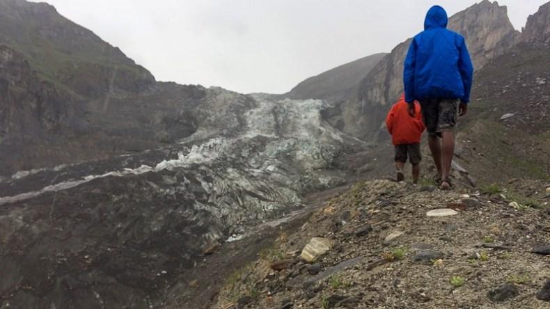 Trekking up Parkachik Glacier