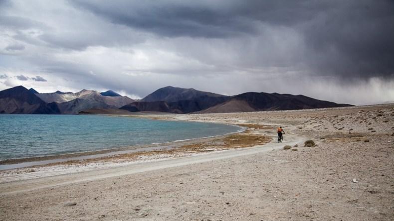 Cycling along Pangong Tso Lake in Ladakh