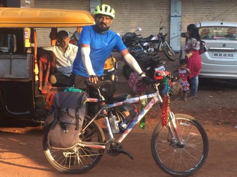 Chidambram cycling from Mumbai to Kanyakumari