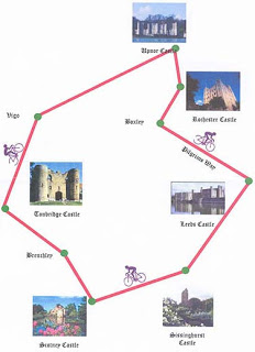 The Map shows the six castles en route. A simply wonderful 103 miles.