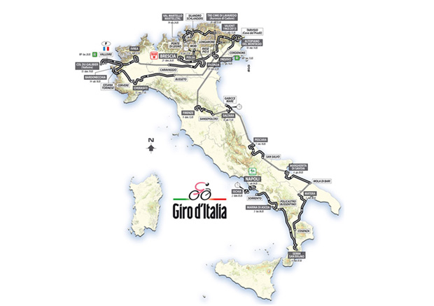 The route of the 2013 Giro