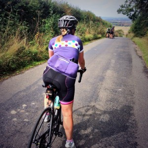 Purple spotty design of the Isobel jersey makes for a bold statement