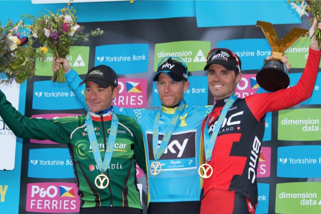 Final GC podium for 2015 Tour de Yorkshire LtoR: Voeckler, Nordhaug & Sanchez - Image ©wwwchrismaher.co.uk | CyclingShorts.cc