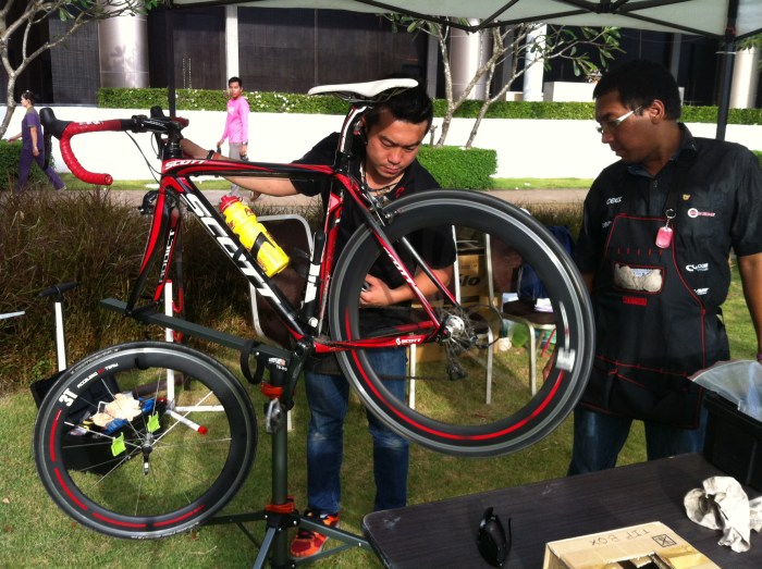 Getting the bike tuned up prior to the 150 km bike race, Rayong, Thailand