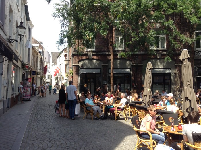 Cobbled streets and cafe culture, Maastricht, Netherlands