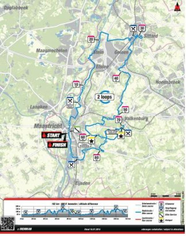 184 km bike course route, Maastricht Ironman, Netherlands