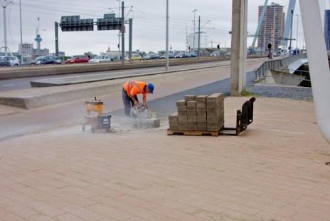 En natuurlijk wordt de voet van de Erasmusbrug netjes afgewerkt. (foto: © 2010 Laurens Alblas)