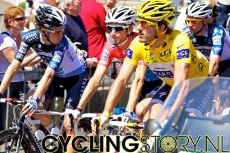 Ook Fränk Schleck zit gezellig voorin (foto: © Laurens Alblas/Cyclingstory.nl)