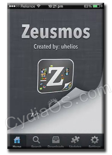 zeusmos app homescreen