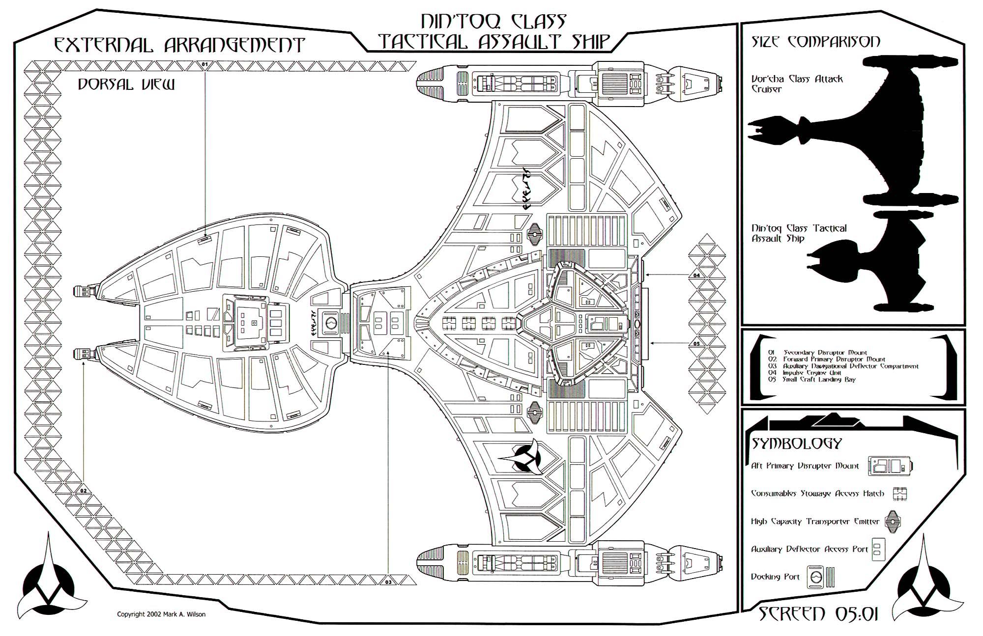 Star Trek Blueprints Klingon Nin Toq Class Tactical